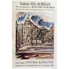 Midcentury French Art Exhibit Poster from Negresco Hotel Nice