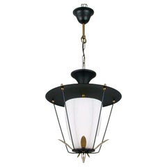 Midcentury French Black and White Lantern with Brass Details, 1950s