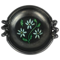 Midcentury French Black Matte Ceramic Sculptural Bowl, Signed