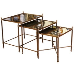 Midcentury French Brass and Églomisé Glass Nesting Tables from Maison Baguès