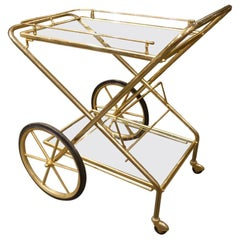 Midcentury French Brass and Glass Bar Cart