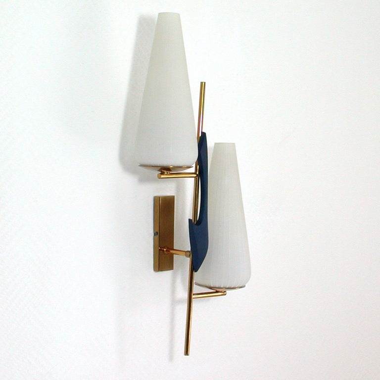 Mid-Century Modern Midcentury French Brass and Opaline Glass Sconce by Maison Arlus, 1950s For Sale