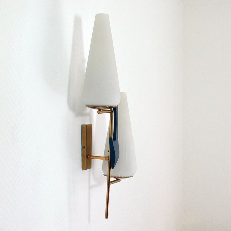 Lacquered Midcentury French Brass and Opaline Glass Sconce by Maison Arlus, 1950s For Sale