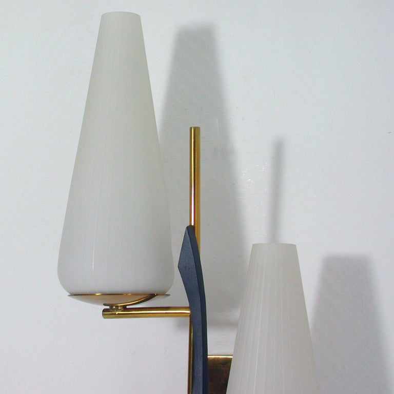 Mid-20th Century Midcentury French Brass and Opaline Glass Sconce by Maison Arlus, 1950s For Sale