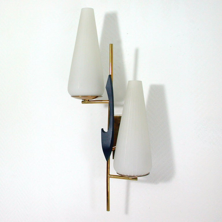 Midcentury French Brass and Opaline Glass Sconce by Maison Arlus, 1950s For Sale 1