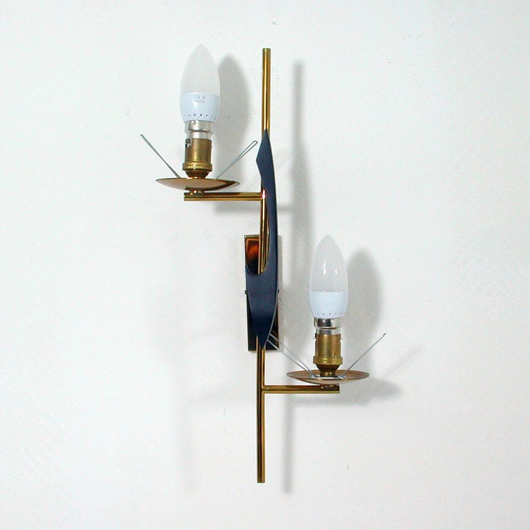 Midcentury French Brass and Opaline Glass Sconce by Maison Arlus, 1950s For Sale 2