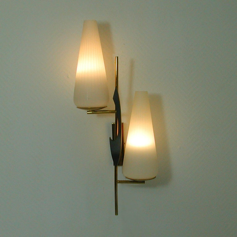 Midcentury French Brass and Opaline Glass Sconce by Maison Arlus, 1950s For Sale 3