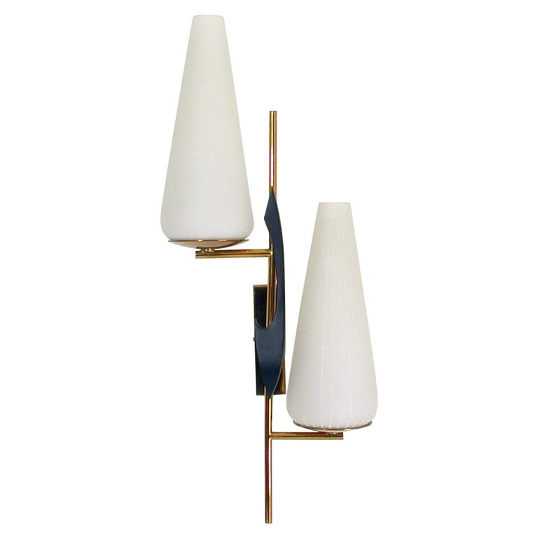 Midcentury French Brass and Opaline Glass Sconce by Maison Arlus, 1950s For Sale