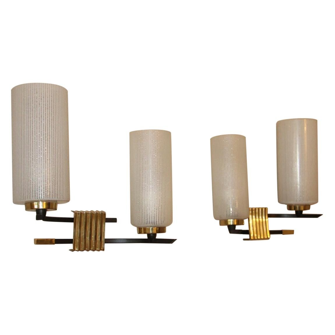 Midcentury French Brass and Opaline Glass Sconces by Maison Arlus, 1950s