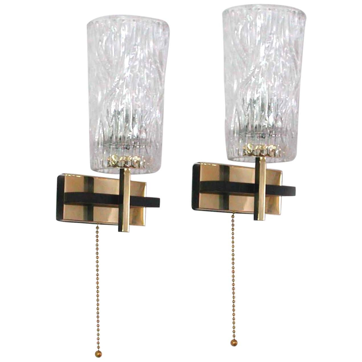 Midcentury French Brass and Textured Glass Sconces by Maison Arlus, 1950s