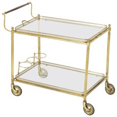 Midcentury French Brass Bar Cart with Mahogany Handle and Removable Tray