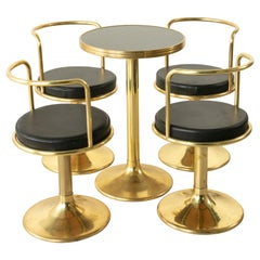 Midcentury French Brass Bistro Set with Black Marble-Top Table and Four Chairs