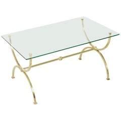 Midcentury French Brass Coffee Table or Cocktail Table with Glass Top