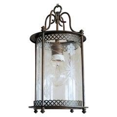 Midcentury French Brass Cut Glass Cylindrical Lantern
