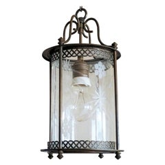 Midcentury French Brass Cut Glass Cylindrical Lantern
