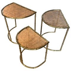 Midcentury French Brass Faux Bamboo Nesting Tables, Maison Bagues