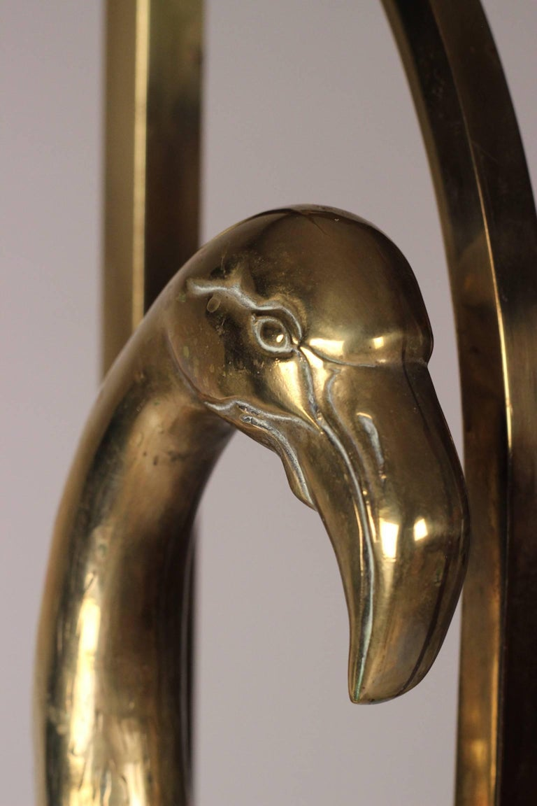 Midcentury French Brass Flamingo Floor Lamp In The Style Of Maison Charles For Sale At 1stdibs