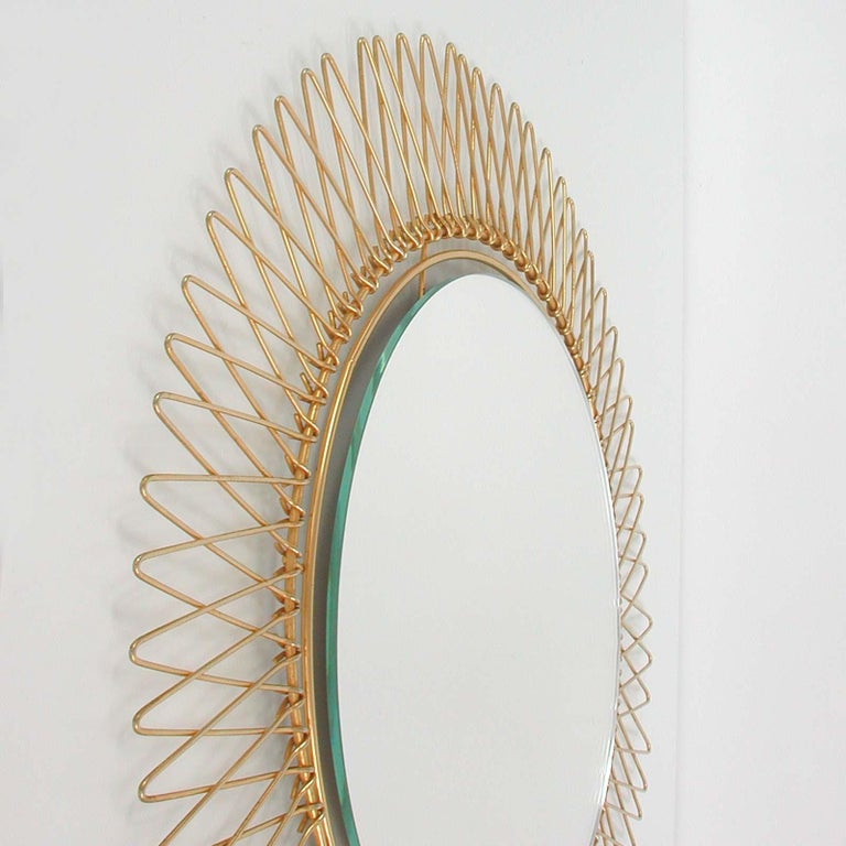 Midcentury French Brass Sunburst Wall Mirror, 1950s For Sale 5