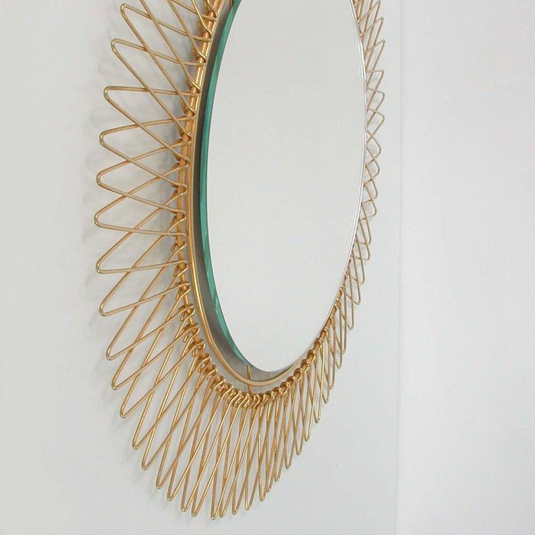 Midcentury French Brass Sunburst Wall Mirror, 1950s For Sale 6