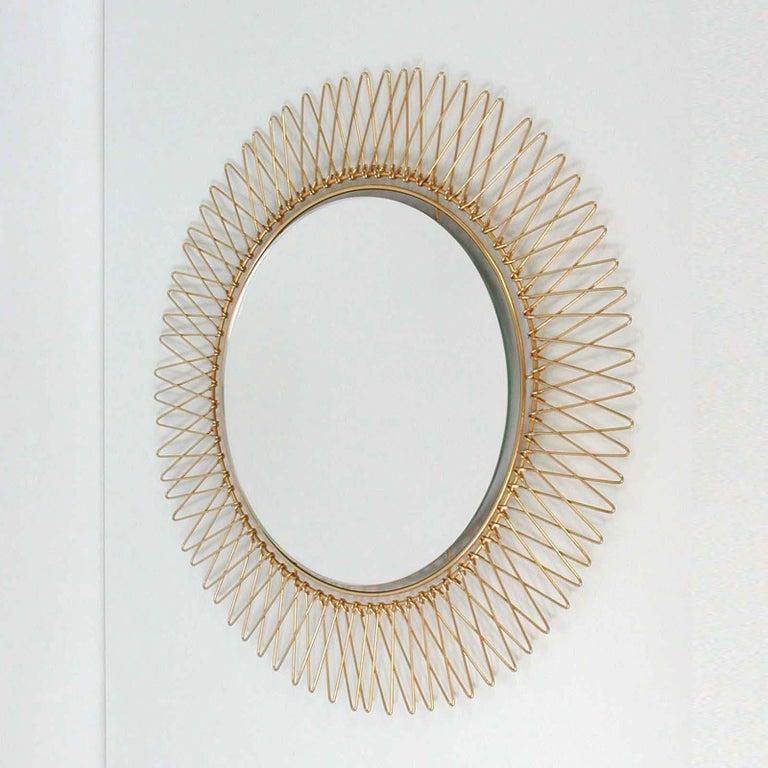 Midcentury French Brass Sunburst Wall Mirror, 1950s For Sale 7