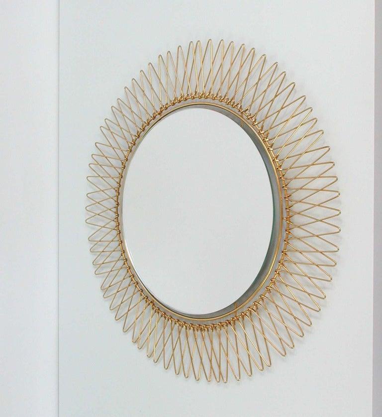 Mid-Century Modern Midcentury French Brass Sunburst Wall Mirror, 1950s For Sale