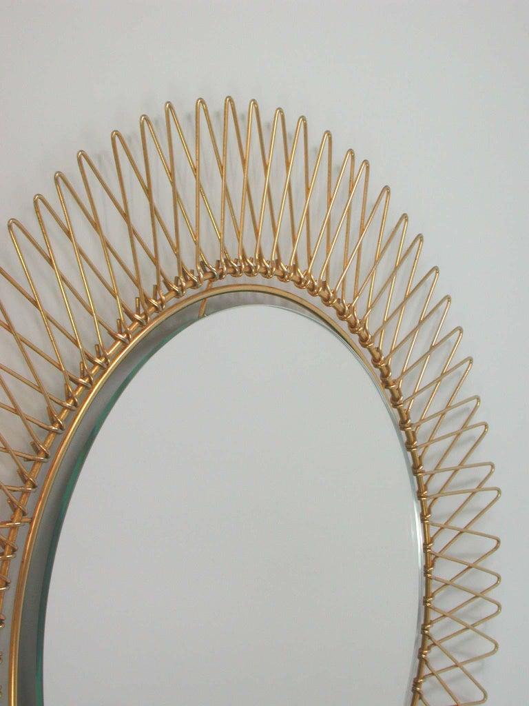 Midcentury French Brass Sunburst Wall Mirror, 1950s In Good Condition For Sale In Nümbrecht, NRW