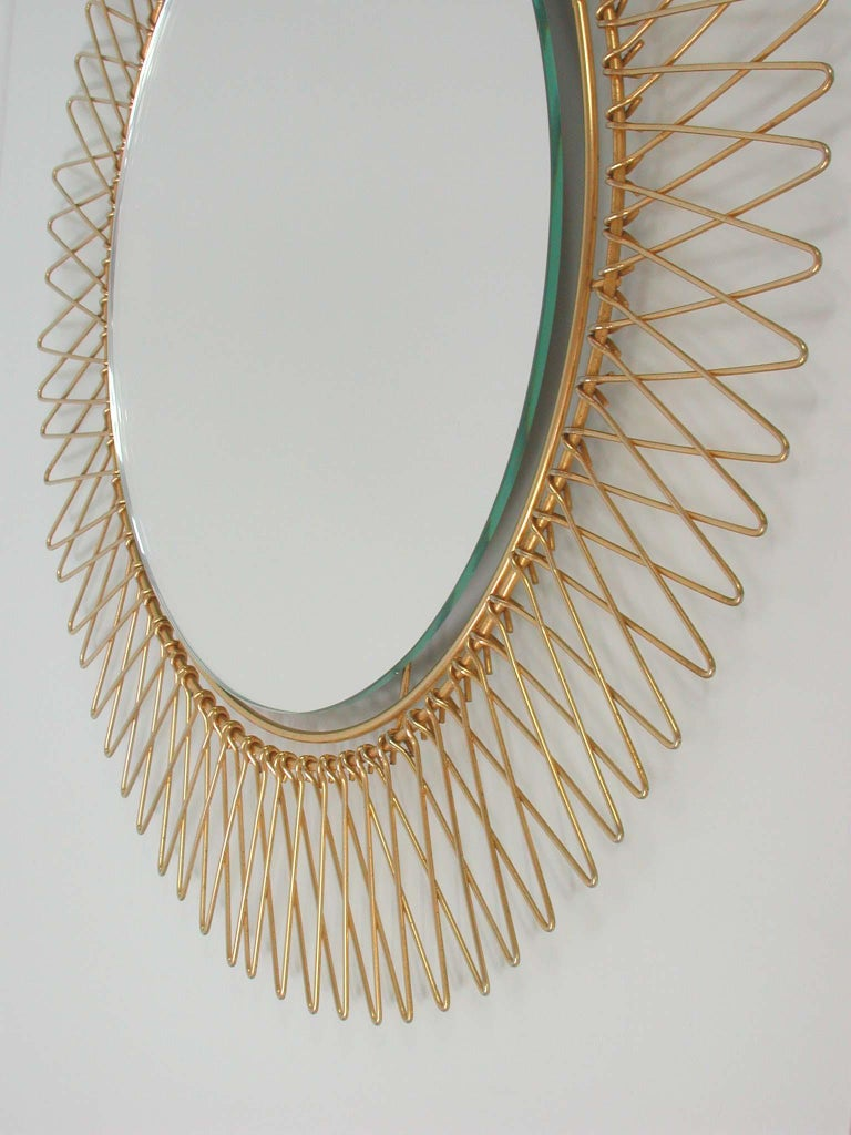 Mid-20th Century Midcentury French Brass Sunburst Wall Mirror, 1950s For Sale