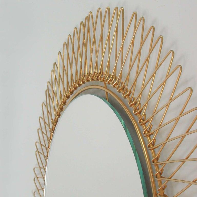 Midcentury French Brass Sunburst Wall Mirror, 1950s For Sale 1