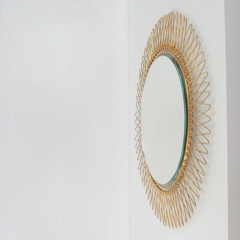 Midcentury French Brass Sunburst Wall Mirror, 1950s For Sale 3