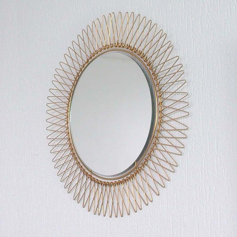 Midcentury French Brass Sunburst Wall Mirror, 1950s For Sale 4