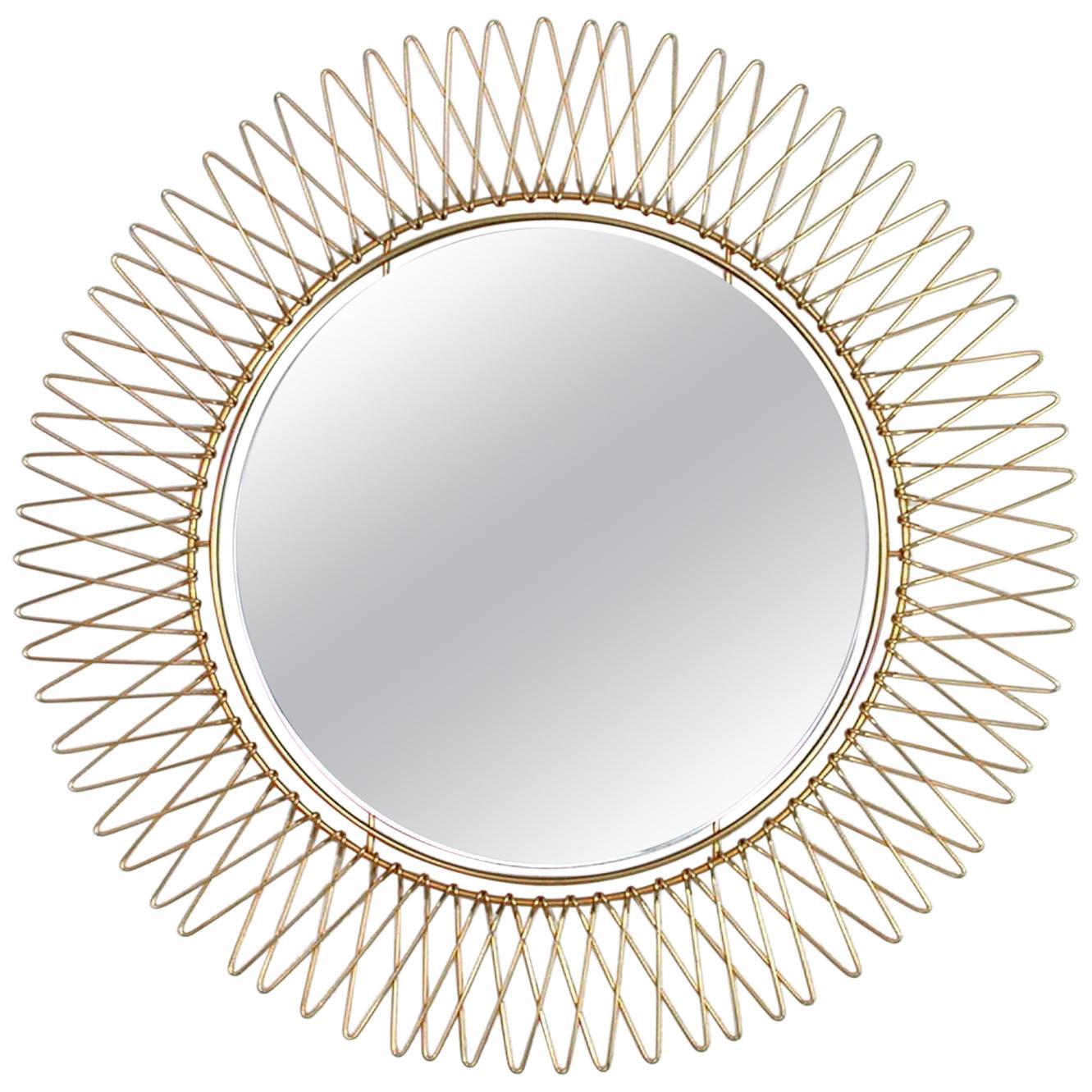 Midcentury French Brass Sunburst Wall Mirror, 1950s