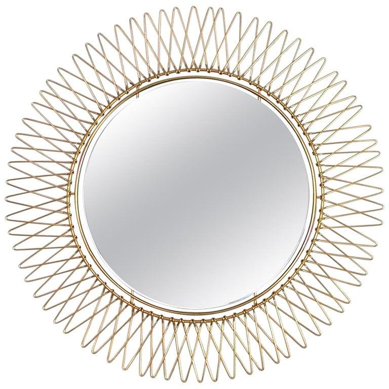 Midcentury French Brass Sunburst Wall Mirror, 1950s For Sale