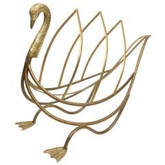 Midcentury French Brass Swan Magazine Rack