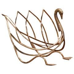 Midcentury French Brass Swan Magazine Rack from Maison Jansen