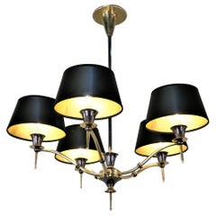 Midcentury French Bronze Chandelier