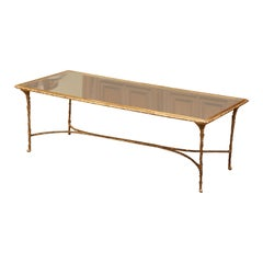 Midcentury French Bronze Dore and Mirrored Coffee Table from Maison Baguès