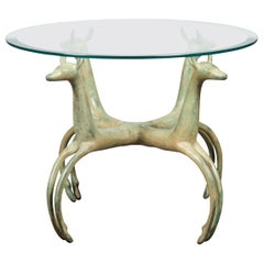 Midcentury French Bronze Low Side Table with Deer Motifs and Two Glass Tops