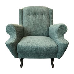 Midcentury French Button Back Lounge Chair with Rolled Arms in Mint Chenille