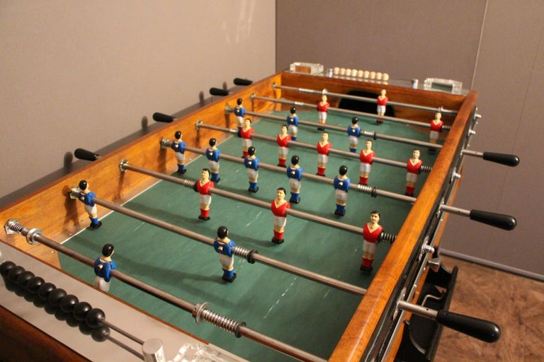 Wood Midcentury French Café's Foosball Table, Football Game Table For Sale