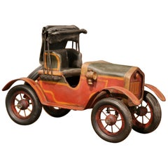 Midcentury French Carved and Metal Painted Vintage Model Car with Canvas Top