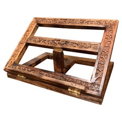 Midcentury French Carved Oak Folding Book Stand with Floral Motifs