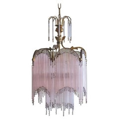 Midcentury French Cascading Glass Rod and Brass Chandelier