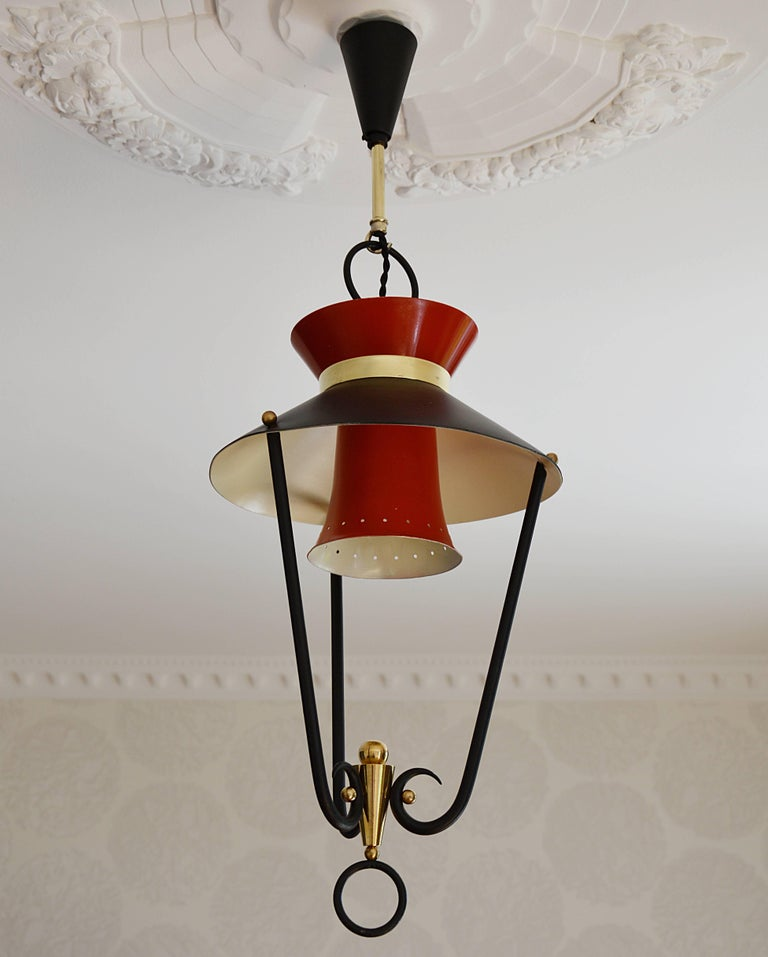 Metal Midcentury French Ceiling Light, 1950s For Sale