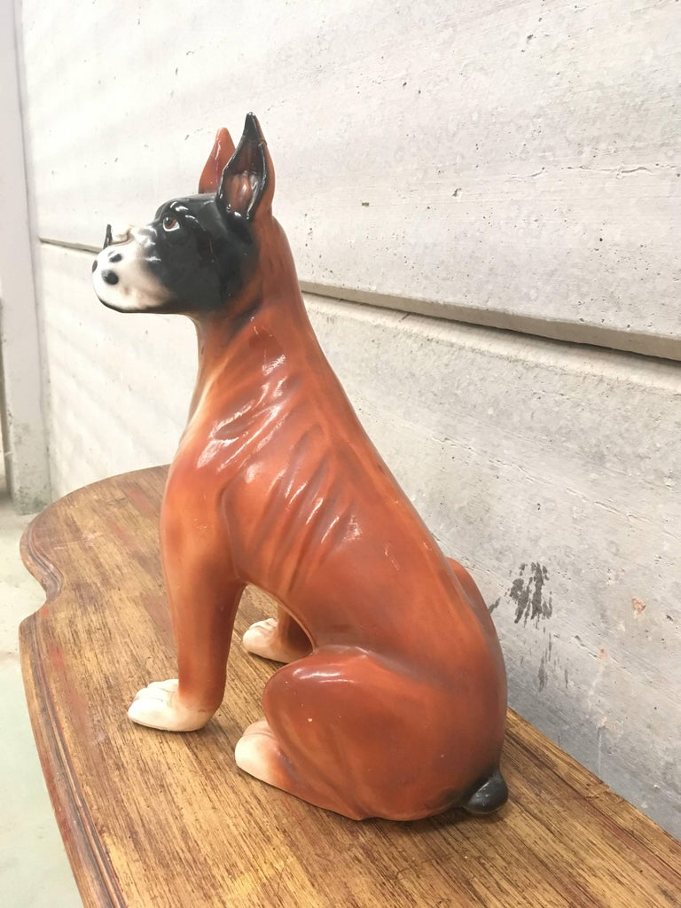 Mid-Century Modern Midcentury French Ceramic Boxer Figurine, 1950s For Sale