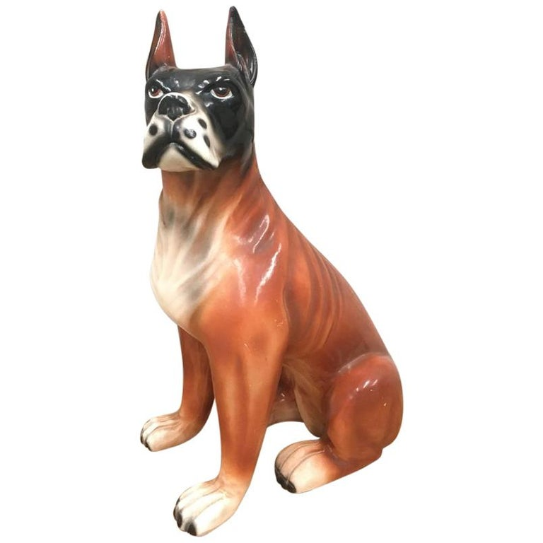 Midcentury French Ceramic Boxer Figurine, 1950s For Sale