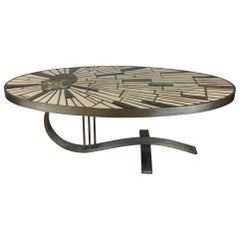 French Midcentury Ceramic Coffee Table Signed Barrois, Style Roger Capron