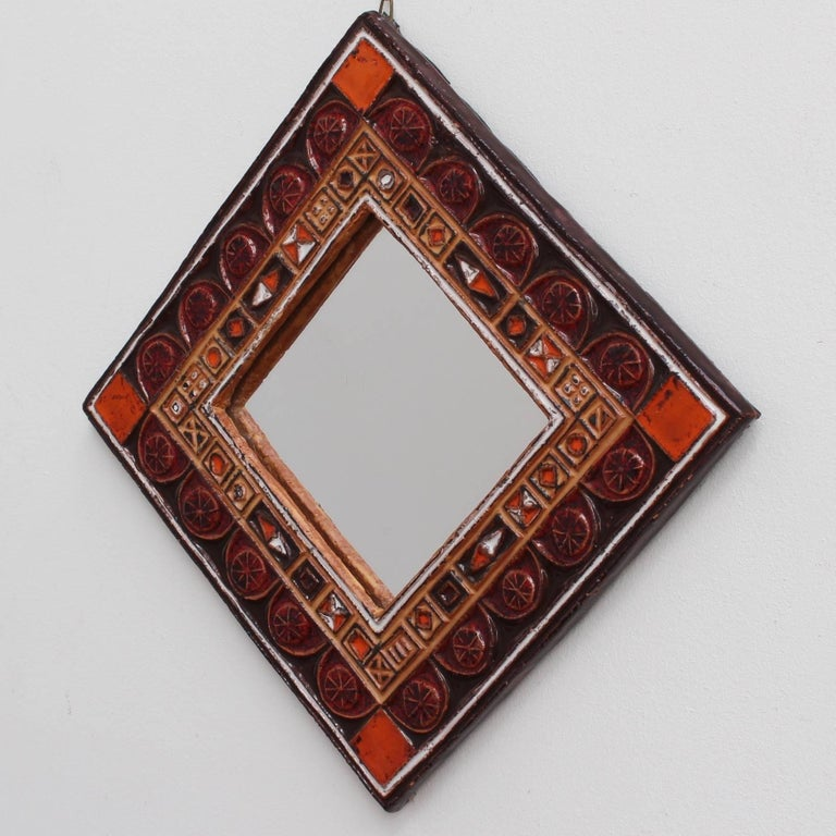 Mid-Century Modern Midcentury French Ceramic Decorative Mirror, circa 1960s-1970s For Sale