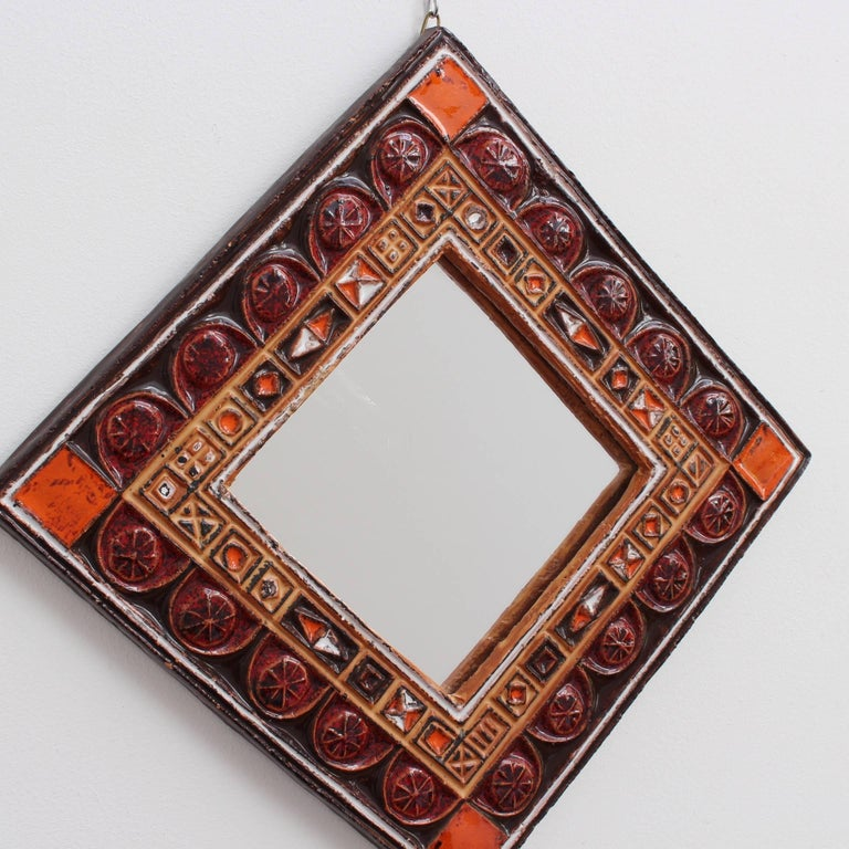 Midcentury French Ceramic Decorative Mirror, circa 1960s-1970s In Good Condition For Sale In London, GB