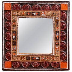Midcentury French Ceramic Decorative Mirror, circa 1960s-1970s