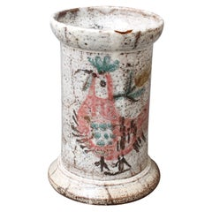 Midcentury French Ceramic Jar with Rooster Motif by Gustave Reynaud, Le Mûrier